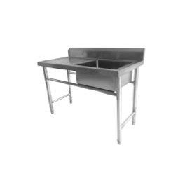 SS Sink Table With Side Drain and Backsplash