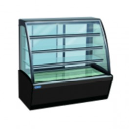 4 Layer Curved Glass Display Showcase, 5ft Black