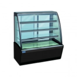 4 Layer Curved Glass Display Showcase,4ft Black