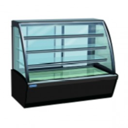 4 Layer Curved Glass Display Showcase,6ft Black